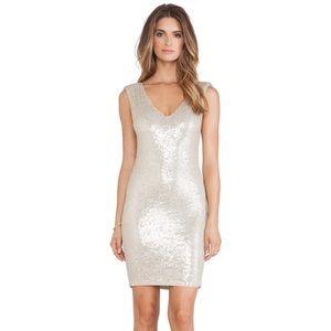 Alice + Olivia Embellished V Neck Mini Dress sz 0